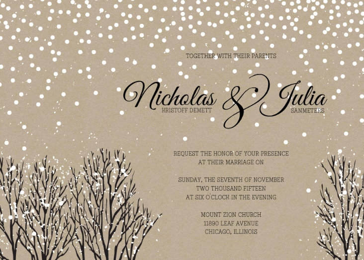wedding invitation wording, winter wonderland & holiday themes,