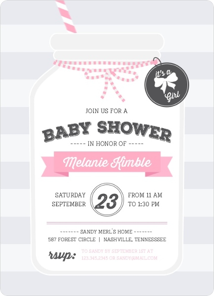 Cute Pink Mason Jar Baby Shower Invitation By PurpleTrail.com.