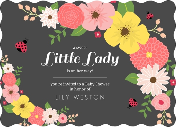 Floral Pink And Black Ladybug Baby Shower Invitation By PurpleTrail.com.