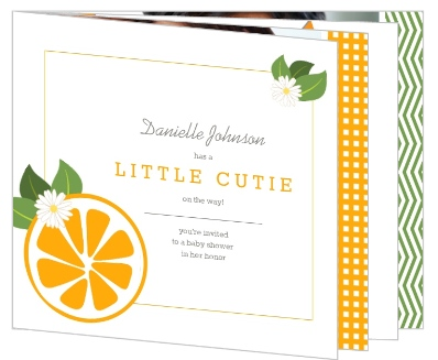 Orange Little Cutie Gender Neutral Baby Shower Invitation By  PurpleTrail.com.