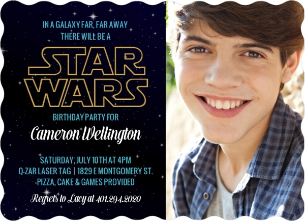 starry sky star wars birthday invitation by purpletrailcom