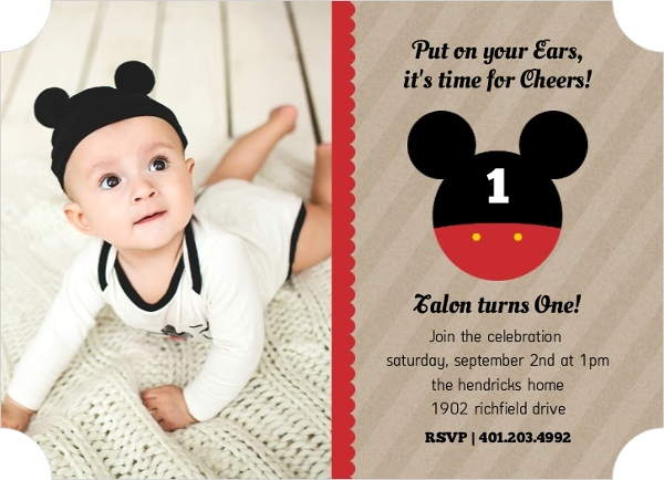 Mickey Mouse Birthday Party Ideas Wording Activities Toddlers Kids – 1st Birthday Invitation Message