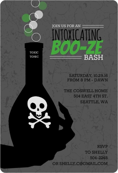 toxic potion halloween adult halloween party invitations by purpletrailcom - Creative Halloween Party Invitations