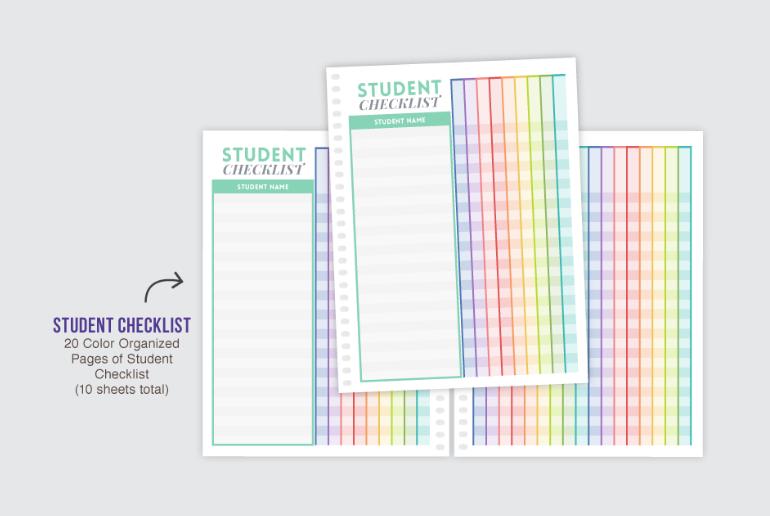 Student checklist in PurpleTrail teacher planner.