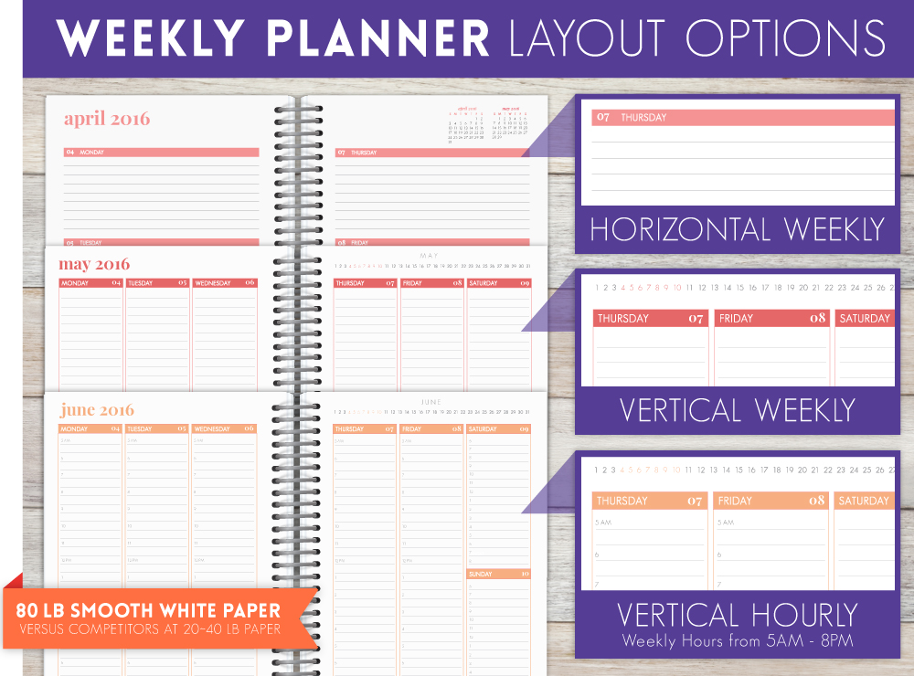 Weekly Calendar Horizontal : Personal planner weekly by purpletrail