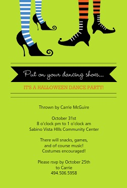 Dance Party Halloween Invitations