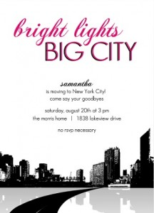 Bright Lights Big City Going Away Party Ideas Invitation