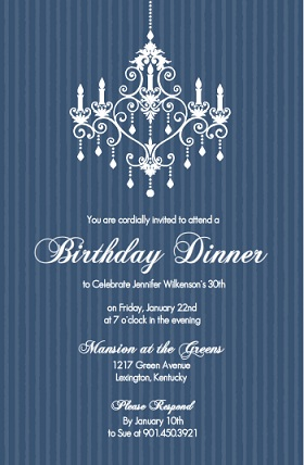 Chandelier  Birthday Party Invitation