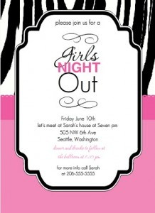 Sassy Zebra Print Girls Night Out Invitation