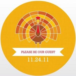 Turkey Banner Yellow Thanksgiving Invitation wording