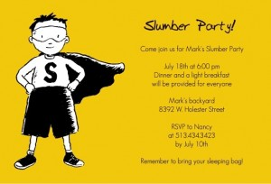 Yellow Super Hero Slumber Party Invitation slumber party movies