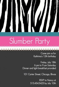 Zebra Patter Slumber Party Invitation Slumber party movies
