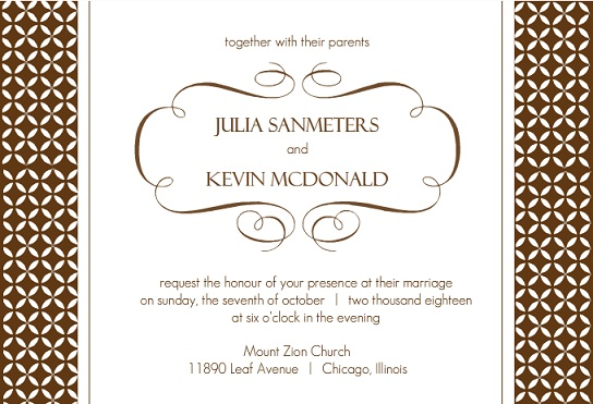 Brown Formal Pattern Wedding Invite