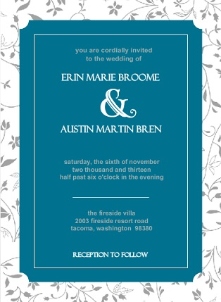 Floral Teal Wedding Invite