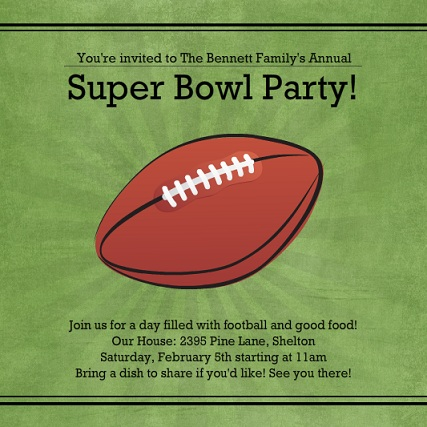 Green Linen Super Bowl Party Invitation Super Bowl Kids Activities