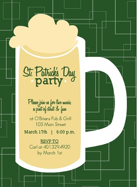 Beer Mug St. Patrick's Day Invitation