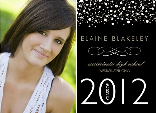 Black With White And Gold Dots Photo Graduation Announcement