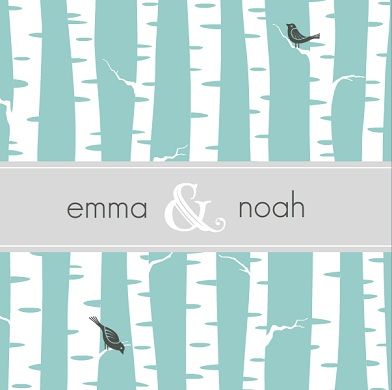 Blue and White Wintry Wedding Invitation wording