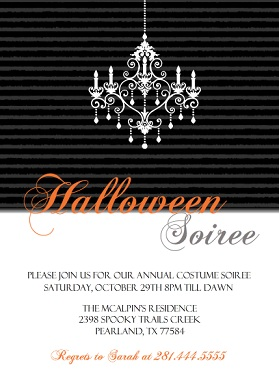 Black and White Halloween Party Invitation Wording