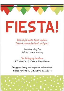 Fiesta Confetti And Flags Cinco De Mayo Invitation