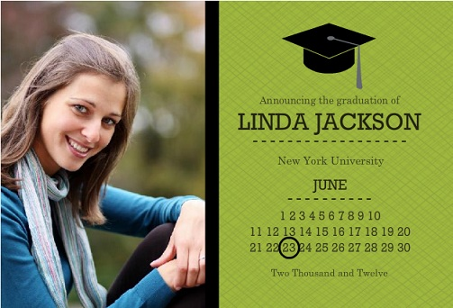 Green And Black Grad Cap And Calendar Graduation Annoucement Magnet