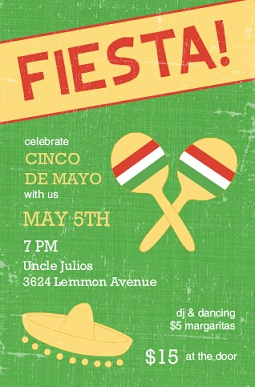 Green Sombrero Fiesta Invitation Wording