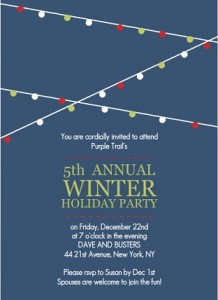 Holiday Lights Blue Corporate Party Invitation printable christmas game
