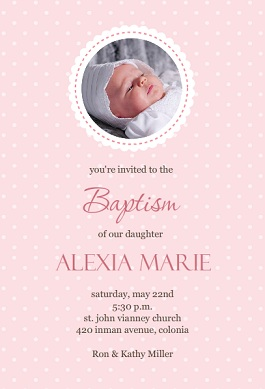 Pink Polka Dot Baptism Invitation wording