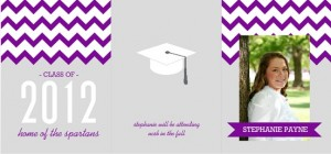 Purple And Gray Chevron Pattern Graduation Annoucement inspirational graduation quotes