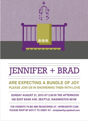 Purple Modern Nursery (Set) Girl Baby Shower Invite