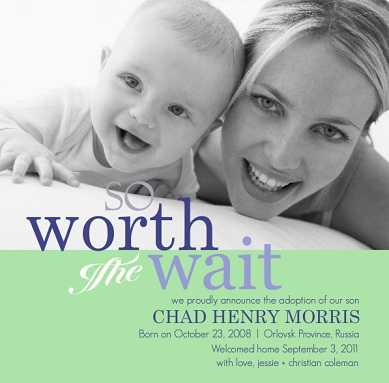 So Worth The Way Photo Baby Birth Announcement Green and Blue