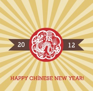 Square Dragon Chinese New Years Card Red Gold Chinese New Year Party Ideas
