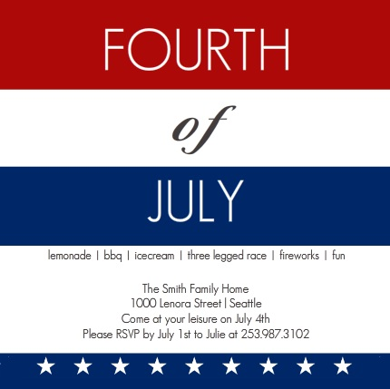 Fourth of July Stripes Red White and Blue Invitation