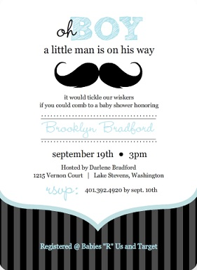 Blue And Black Moustache Boy Baby Shower Invitation Wording