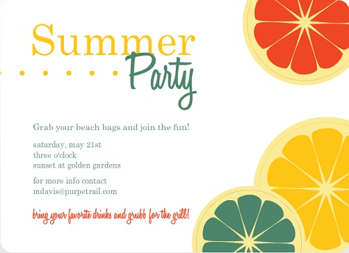 Colorful Citrus Fruit Summer Party Invitation