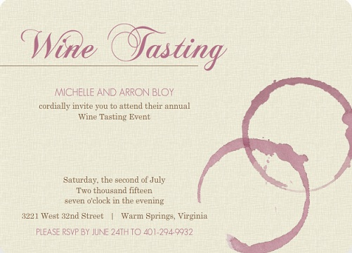Formal Purple Wine Stains Wine Party Invitation