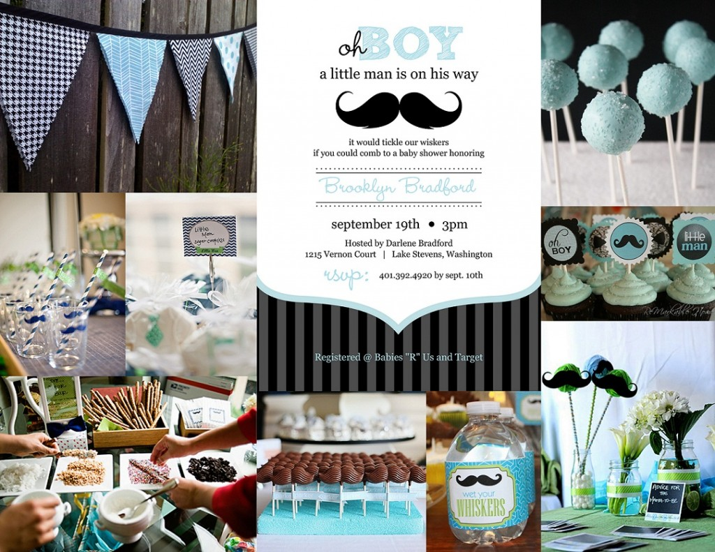 baby shower inspiration mustache theme from purple trail