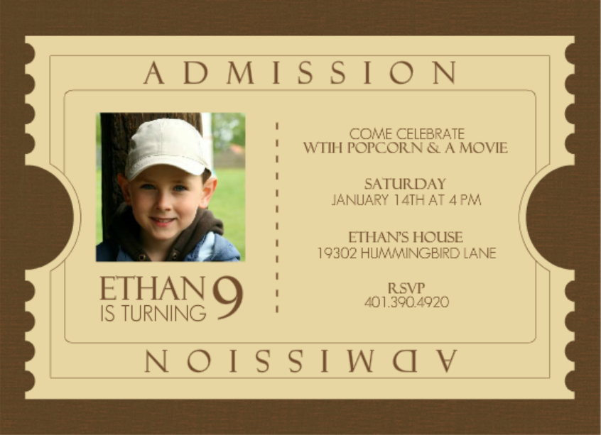 Admission Ticket Brown Kids Polar Express Birthday Invitation