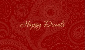 Beautiful Red Paisley Diwali Decorations Card
