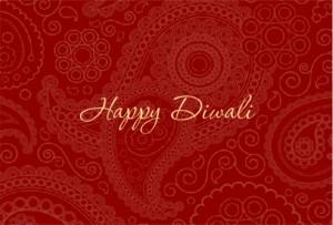 Beautiful Red Paisley Diwali Decorations Card