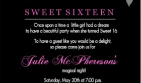 Black And Pink Flourish Sweet 16 Teen Birthday Party Invitation wording