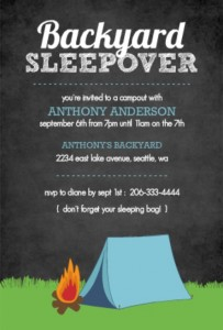 Black Chalkboard Backyard Camp out Ideas Invitation
