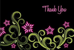 Black Floral Thank You Card wording
