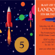Blue And Orange Rocket Science Birthday Party Invitation