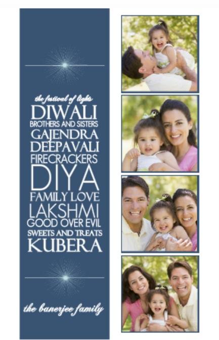 Blue Typographic Diwali Card