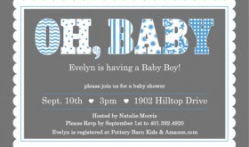 Blue Whimsical Patterns and Scallop Boy Baby Shower Invitation
