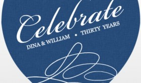 Blue and White Swirl Anniversary Invitation Wording