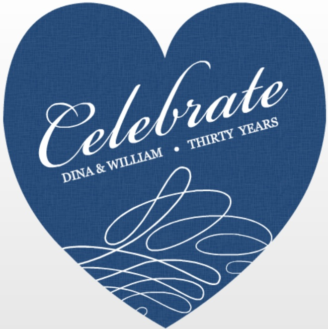 Blue and White Swirl Wedding Anniversary Trivia Invitation