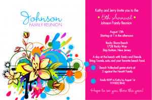 Bright And Bold Family Reunion Ice Breaker Games Invitation