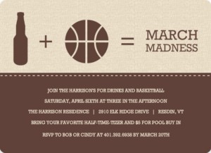 Brown Modern Beer and Ball Icons Basketball Invitation March Madness Party Ideas
